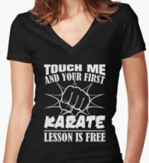 First Karate Lesson Is Free Shirt Women's Fitted V-Neck T-Shirt