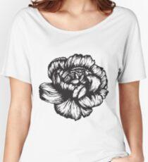 Carnation February Birth Flower - Black & White Pen Drawing  Women's Relaxed Fit T-Shirt