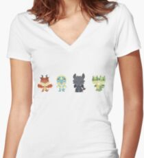 """Tiny Dragons """"How To Train Your Dragon"""" Women's Fitted V-Neck T-Shirt"""
