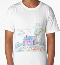 a child's drawing, car in the driveway with the tree Long T-Shirt