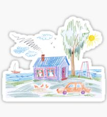 a child's drawing, car in the driveway with the tree Sticker