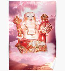 Laughing Buddha Sitting On Cloud Poster
