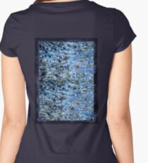 marbled paper - ink blue sea Women's Fitted Scoop T-Shirt