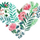 heart with flowers and leaves by KaterinaSan