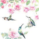 """Paradise"" - watercolor hummingbirds and fuschia garden by Mariya Prytula"
