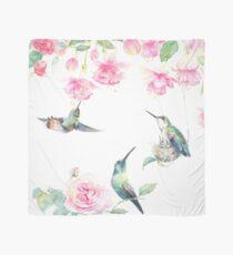"""""""Paradise"""" - watercolor hummingbirds and fuschia garden Scarf"""