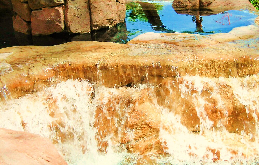 Tahati village waterfall by mel1forjon