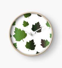 Green Maple Leaves Clock
