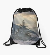 stormy weather over forest in mountains Drawstring Bag
