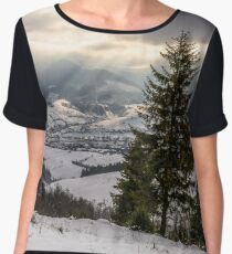 stormy weather over rural area in mountains Chiffon Top