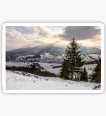 stormy weather over rural area in mountains Sticker