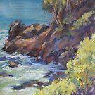 Nobbys Headland - plein air by Terri Maddock