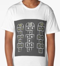 illustration with hopscotch game on grey background Long T-Shirt