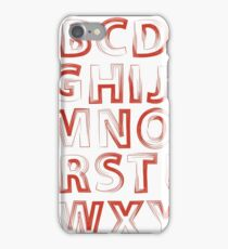 colorful illustration  with red alphabet on white background iPhone Case/Skin
