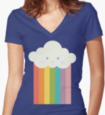 Proud rainbow cloud Women's Fitted V-Neck T-Shirt