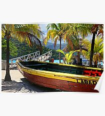 Old Wooden Boat, Labadee Haiti Poster