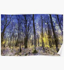 Sunset Forest Van Gogh Poster