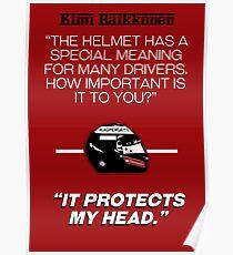 "Póster Kimi Raikkonen - ""Protege mi cabeza""."