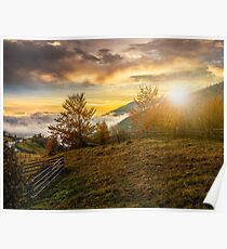 foggy and hot sunset in Carpathian mountains Poster