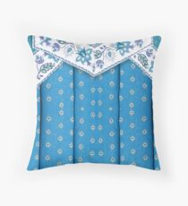 104 Country Cottage Style, Blue with Fancy Trim Throw Pillow