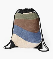 Geometric, Green Blue Brown Taupe Swirls Drawstring Bag