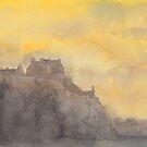 Edinburgh Castle sunset -  water colour by Boxzero