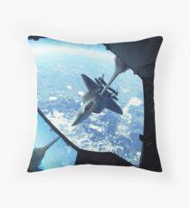 A F-22 Raptor refuels behind a KC-10 Extender. Throw Pillow