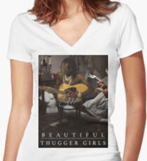 Young Thug | Easy Breezy Beautiful Thugger Girls (EBBTG) Women's Fitted V-Neck T-Shirt