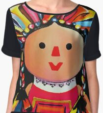Mexican Maria Doll Black Chiffon Top