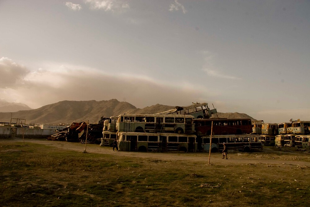 destroyed buses of Kabul by Jacob Simkin