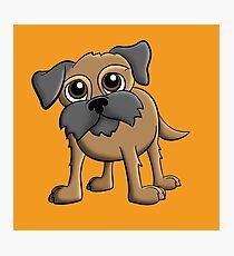 Cartoon Border Terrier Pet Dog Portrait Photographic Print