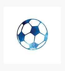 Blue soccer ball Photographic Print
