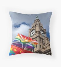 Liver Building and Pride Flags Throw Pillow