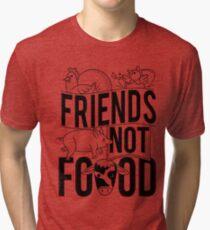Friends Not Food PIG COW CHICKEN Tri-blend T-Shirt