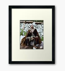 Old peasant with dagger and long smoking pipe, Svanetia, Georgia, ca. 1888 Framed Print
