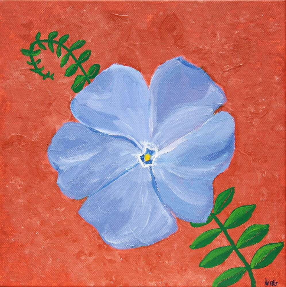 Periwinkle Blue Vinca Vine Flower On Terra Cotta by lasgalenarts