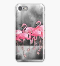 Flamingo  Collage in Watercolor and Ink iPhone Case/Skin