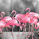 Flamingo  Collage in Watercolor and Ink by micklyn