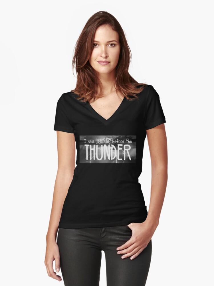 Thunder - Imagine Dragons lyrics Women's Fitted V-Neck T-Shirt Front