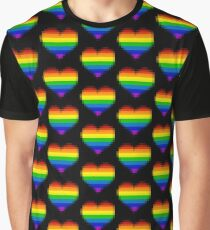 Rainbow Flag Pixel Heart Graphic T-Shirt