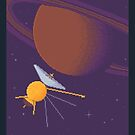 Cassini and Saturn (Grand Finale Commemorative Poster) by sp8cebit