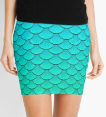 Mermaid Tail Turquoise Green Pattern Mini Skirt