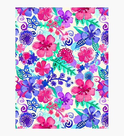 Fresh Watercolor Floral Pattern Photographic Print
