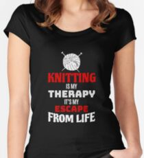 Funny Knitting Lover Gift  - Knitting Is My Therapy  Women's Fitted Scoop T-Shirt