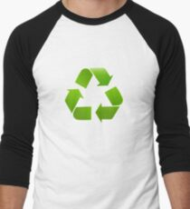 Green Recycle symbol on white background Men's Baseball ¾ T-Shirt