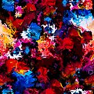 Colorful abstract painting on black background by Lusy Rozumna