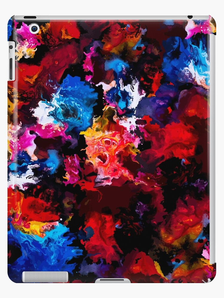 Colorful Abstract Painting On Black Background Ipad Case Skin By Artlu Redbubble