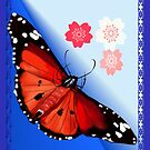 HOT BIG BRIGHT BUTTERFLY and Cherry Blossoms by Lotacats