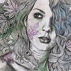 Wake (street art female portrait, maple leaf tattoo) by kiss-my-art