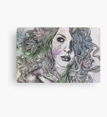 Wake (street art female portrait, maple leaf tattoo) Canvas Print